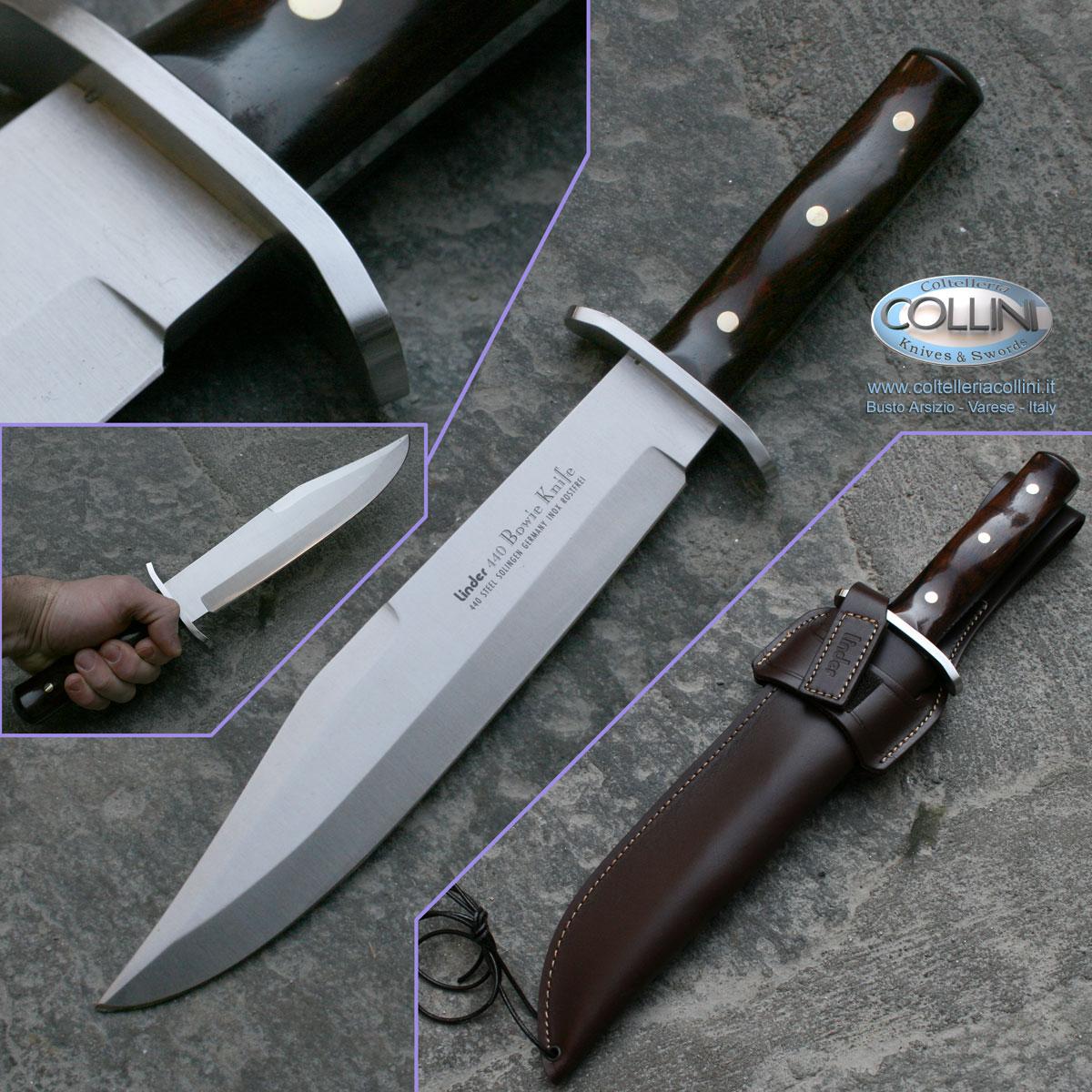 Linder full tang Bowie cocoboloholz faciales cuchillo de caza cuchillo Mango